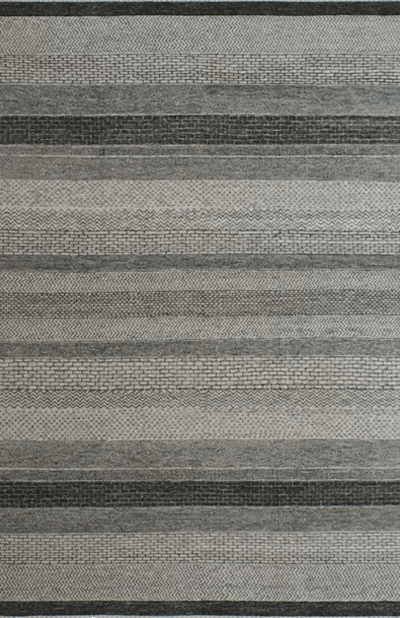 Gabbeh Design in Ivory and Charcoal Black area rug