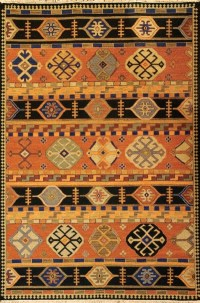 Modern Kazak Design - Copper Rust with Multi Colored Accents area rug
