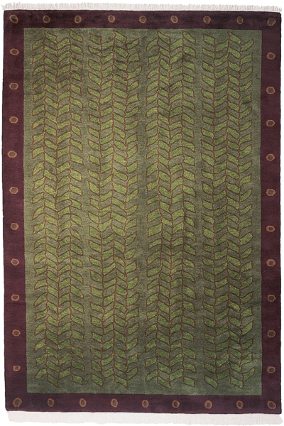 Green Field with eggplant Border area rug
