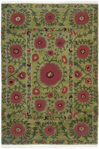 Green Field with Red and Green Circle Accents area rug