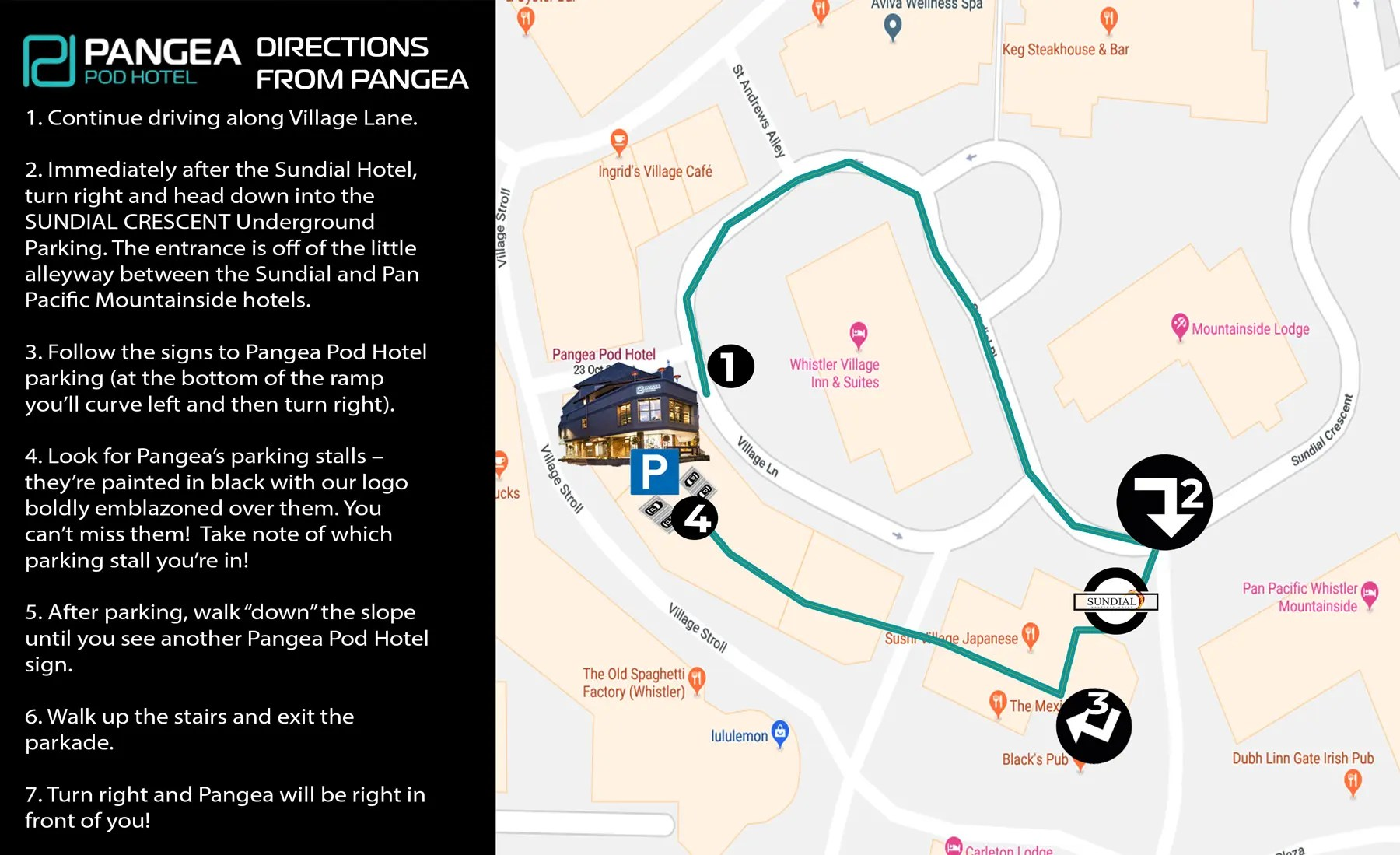 hight resolution of parking directions from pangea 1800