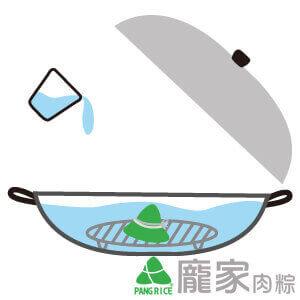 粽子瓦斯爐加熱-加水淹過肉粽