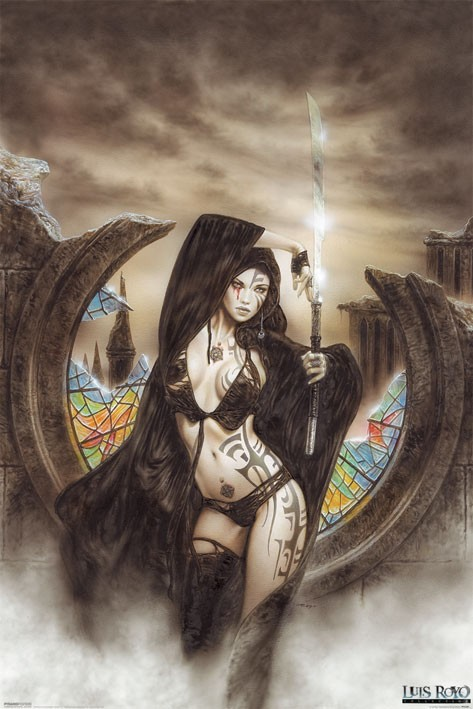 Rock Girl Wallpaper Luis Royo Fantasy Art Posters Luis Royo Stained Poster
