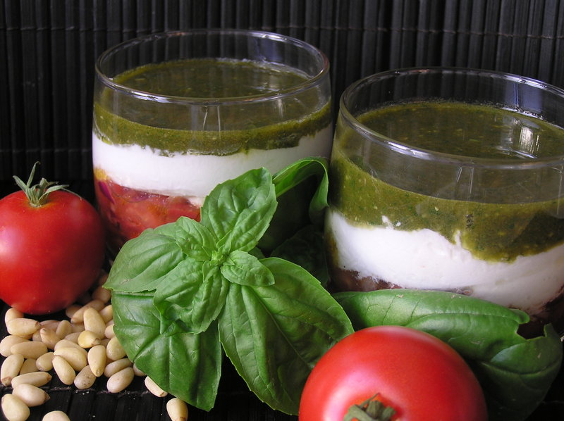 Verrines tricolores au pesto