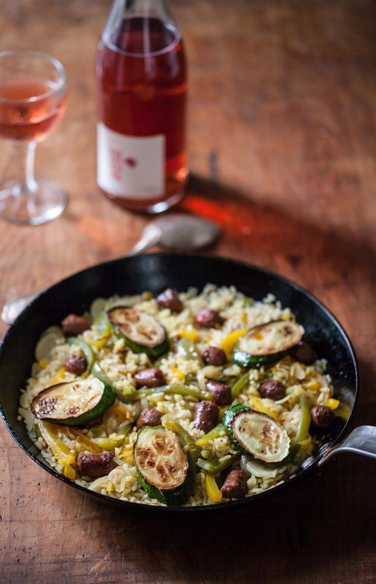 Riz Paella aux légumes et aux merguez, rosé Côteaux du Lyonnais Guillaume Clusel