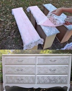 Spraya och mönstra med spetsduk på möbler