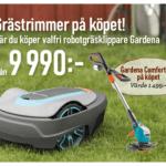 Vid köp av robotgräsklippare får du en grästrimmer på köpet från Gardena