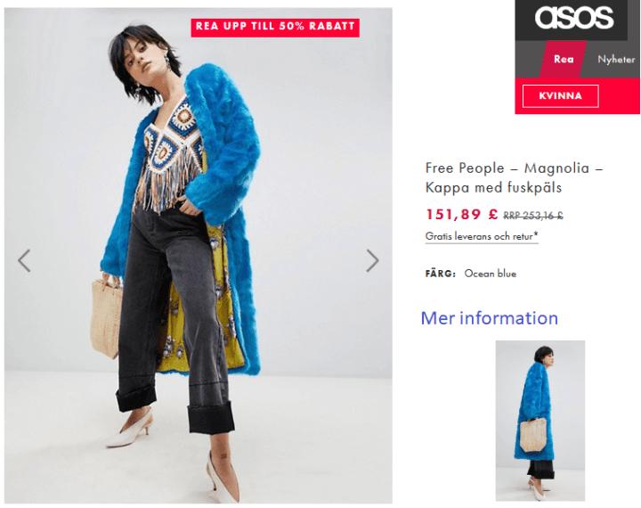 asos hippie fuskpäls kappa