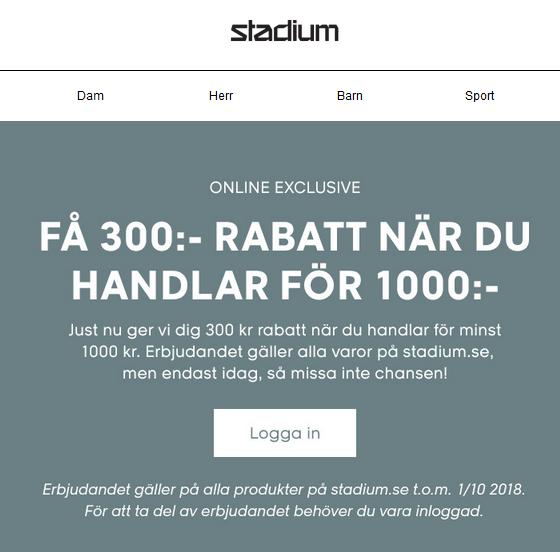 stadium 300 kr rabatt