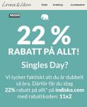 Indiska 22% rabatt på Singles day