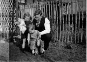 Alfred, Jan with doll and Steve sitting on Dobbin
