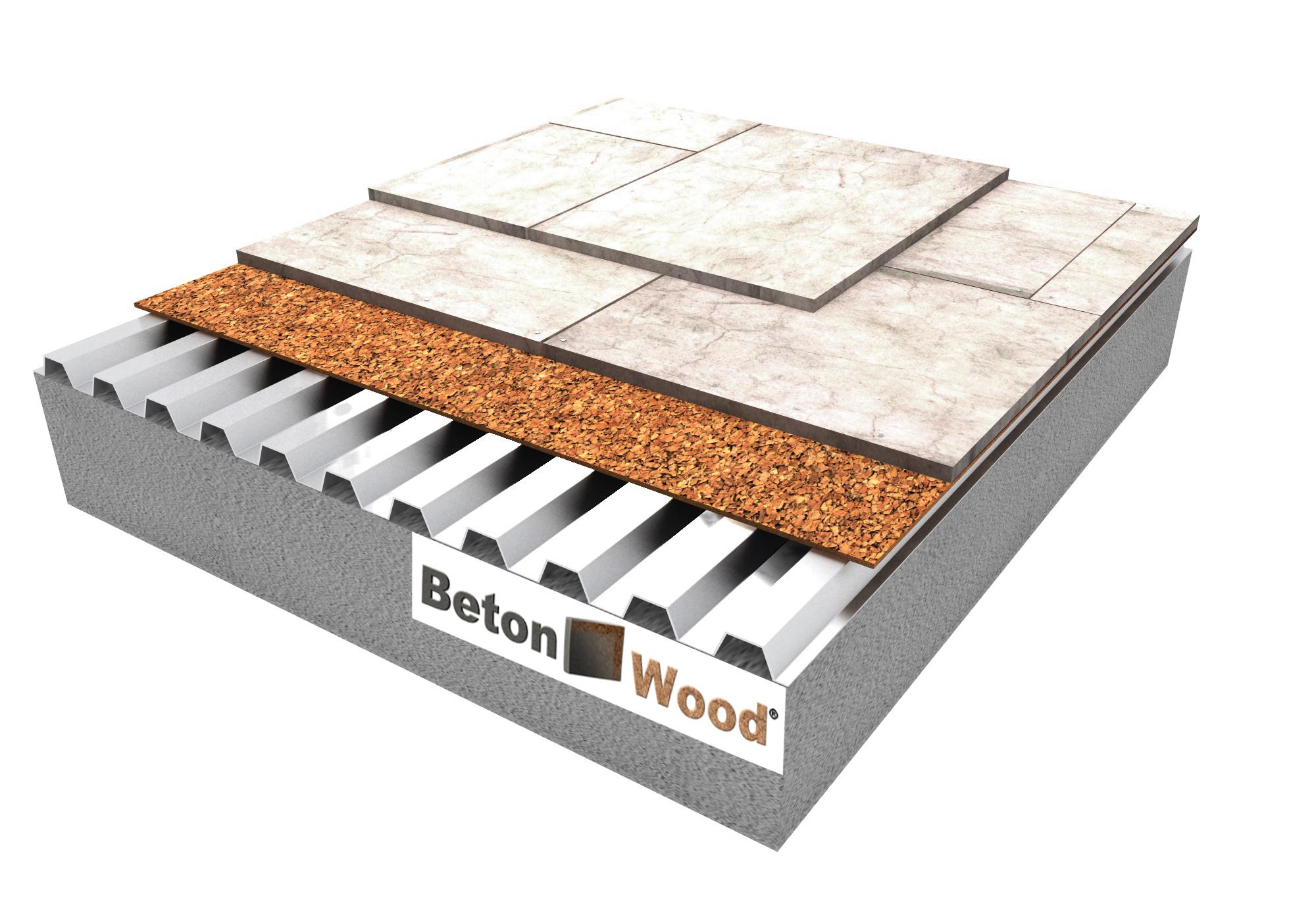 Soluzione tecnica Massetto in BetonWood e rotolo in sughero biondo su lamiera