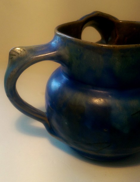 006 Squat mottled blue glazed fish jug 3