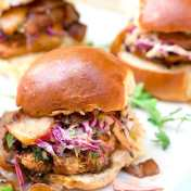 Grilled Chicken Sliders with BBQ Caramelized Onions and Chipotle Coleslaw