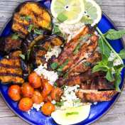 With this simple 3-ingredient marinade and glaze you can make the most addictively delicious grilled chicken and eggplant. An easy recipe featuring North Africa's addictively delicious chili paste.