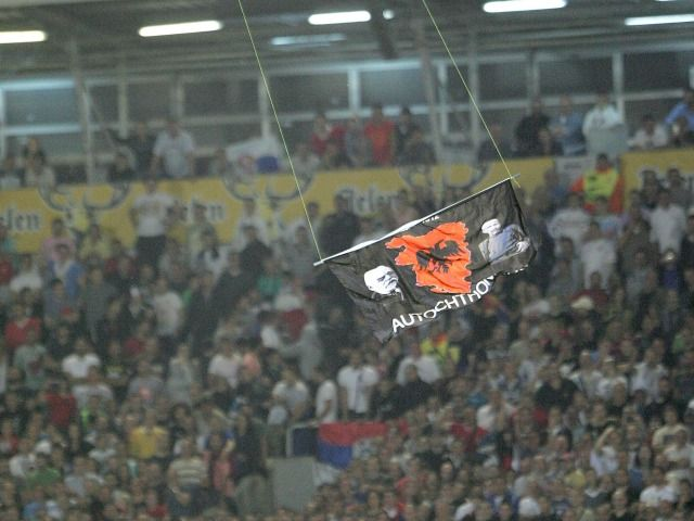 Drone with the map of Greater Albania flew on the match in Belgrade in 2014. Photo Beta 640