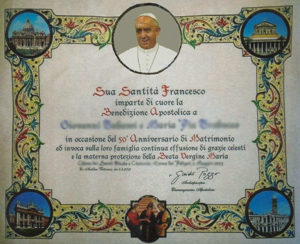 Benedizione del Papa agli sposi