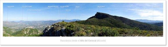 Fotografía panorámica desde el Alto del Cerincal en la Sierra Mariola (Alicante)