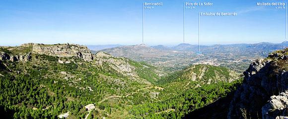 Fragmento de foto panorámica tomada desde el Alto del Cerincal en la SIerra Mariola
