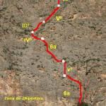 Croquis sobre foto de la vía Intenta seguirme en el Rincón de Bonanza
