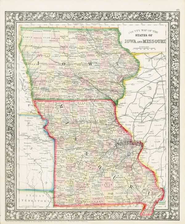 Iowa and Missouri from World maps American State maps
