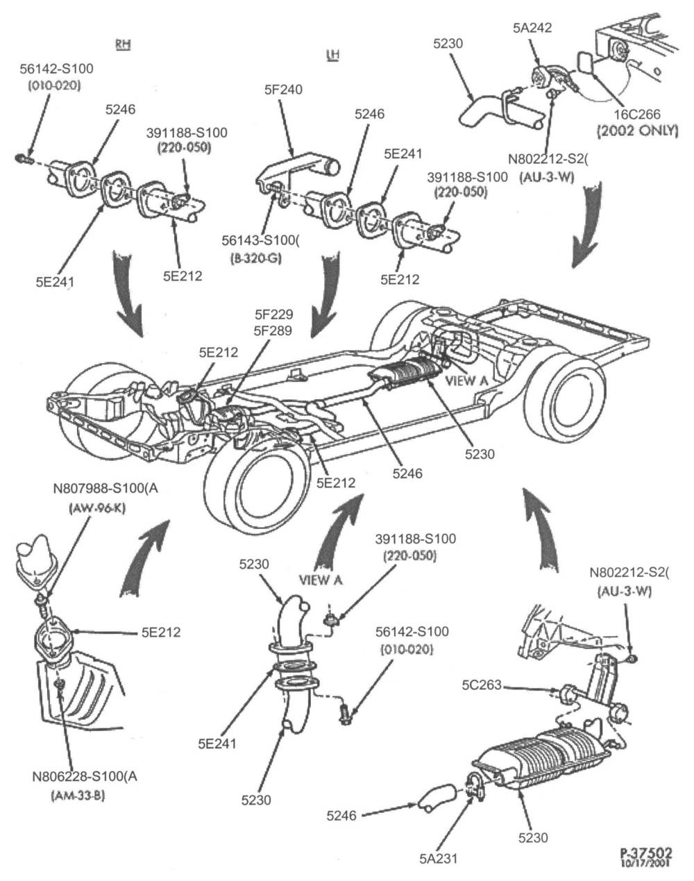 medium resolution of below are some parts diagrams for original equipment ford exhaust system service parts that can be purchased at your local ford dealer