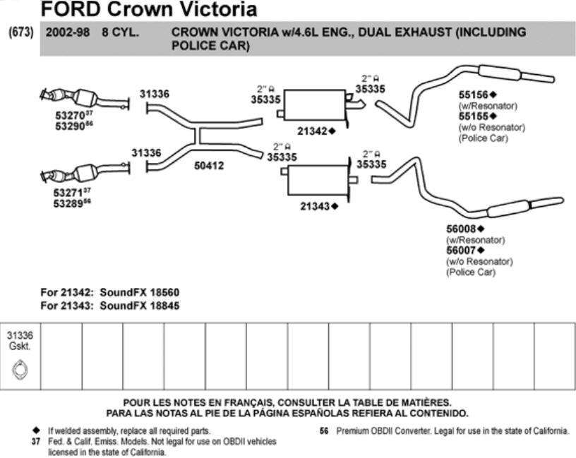 2007 Ford Crown Victoria Fuse Diagram Ford Crown Victoria Police Interceptor Exhaust Parts