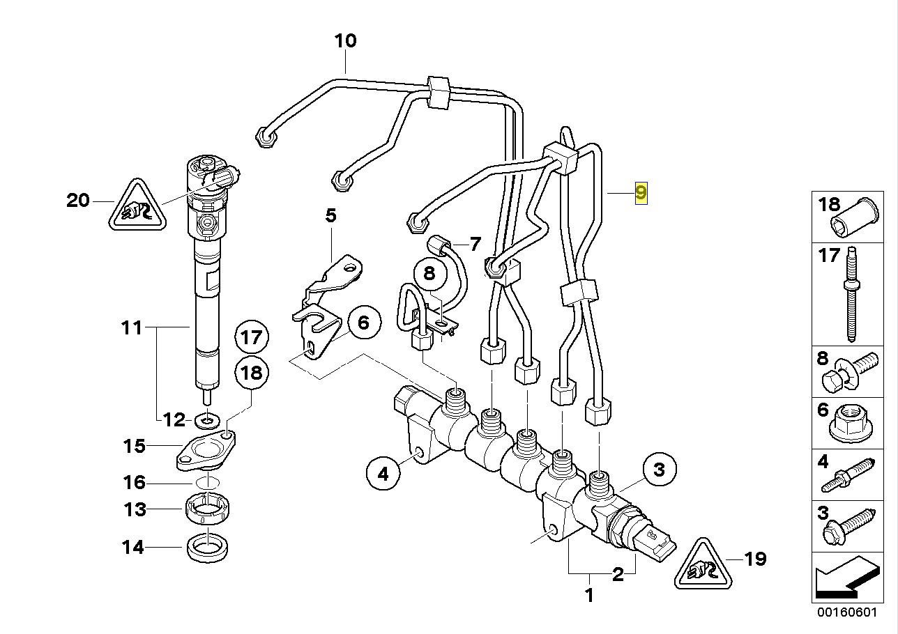 BMW MINI R55 R56 Diesel Fuel Injector Pipe Hose 7804976