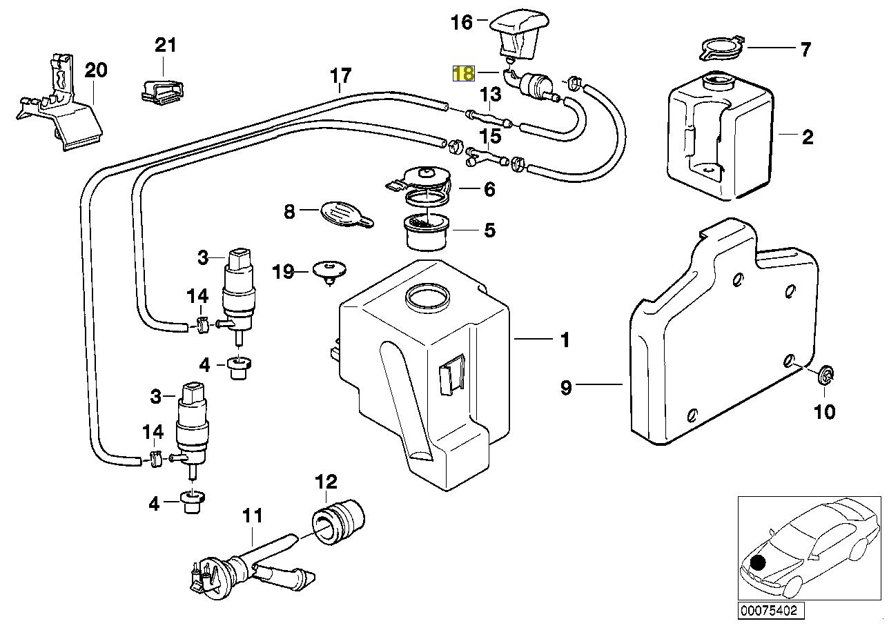 BMW E32 E36 E34 Screen Washer Jet Check Valve 1389040