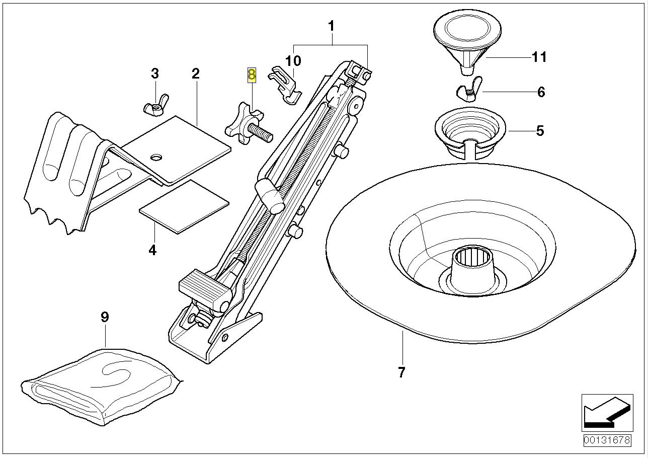 Bmw E46 Wheel Change Lift Jack Clamp Knob Nut