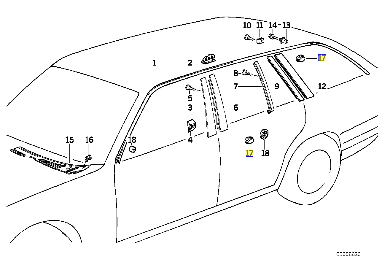 Bmw E30 E28 E34 E32 E31 Karosserie Zierleisten Tulle