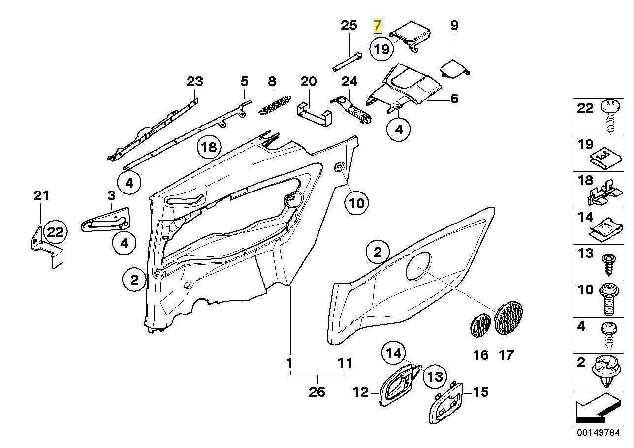 BMW E36 Convertible Interior Rear LH Cover Trim 8172801