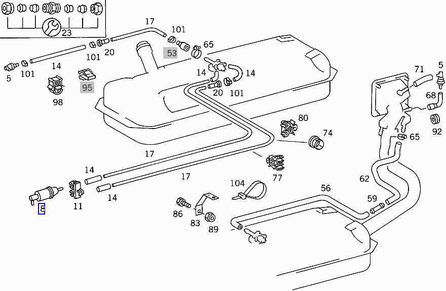 Mercedes Inline Diesel Fuel Filter Strainer Prefilter