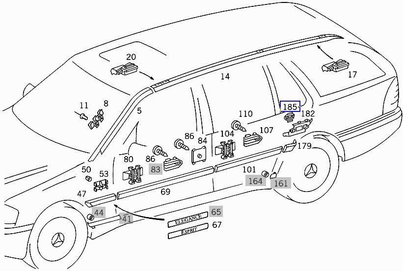 Mercedes W202 W220 Karosserie Zierleisten Guss-clip Halter