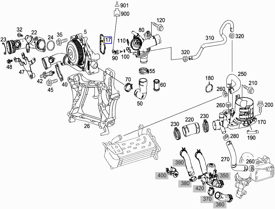 Mercedes OM651 Engine Water Coolant Pump Seal Gasket