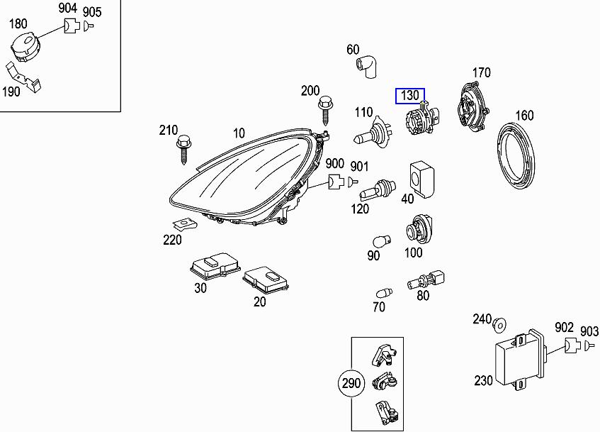 Mercedes R171 W211 Main Beam Bulb Holder Seal O-Ring