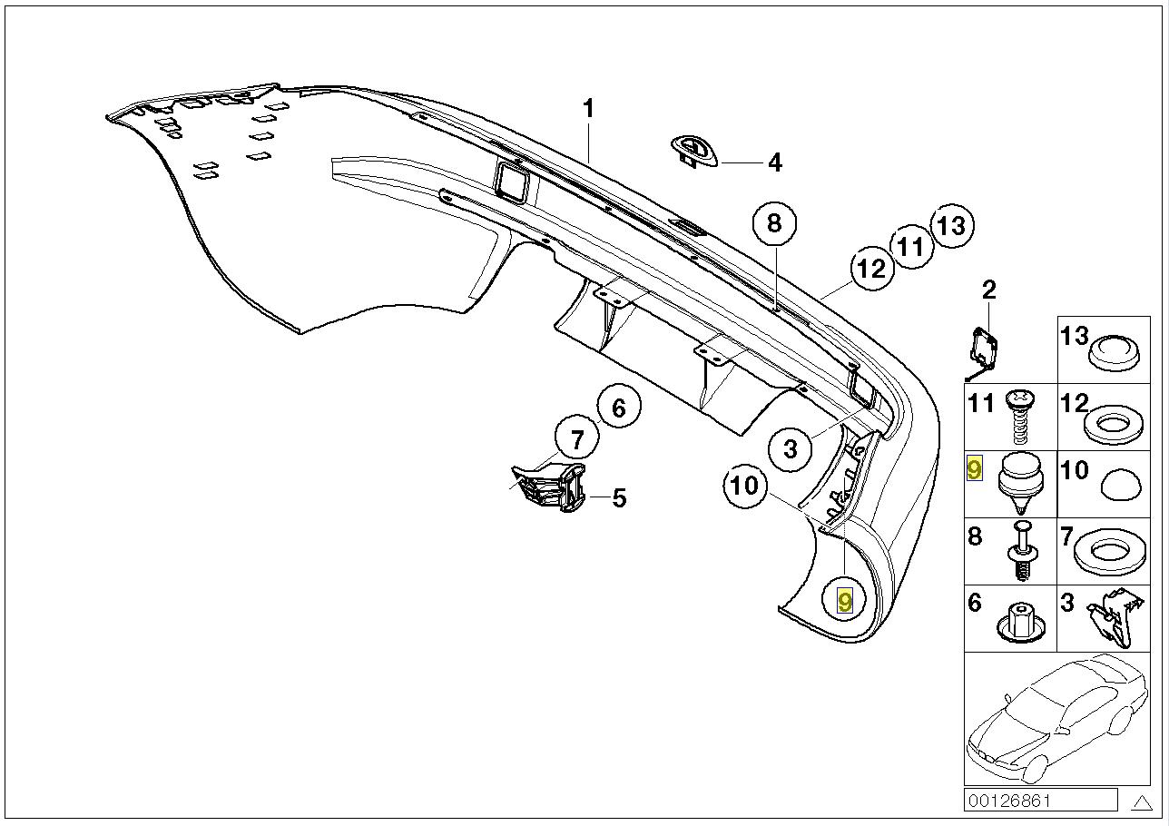 BMW Z3 E36 Parachoques Trasero Recortar Panel Clip Remache