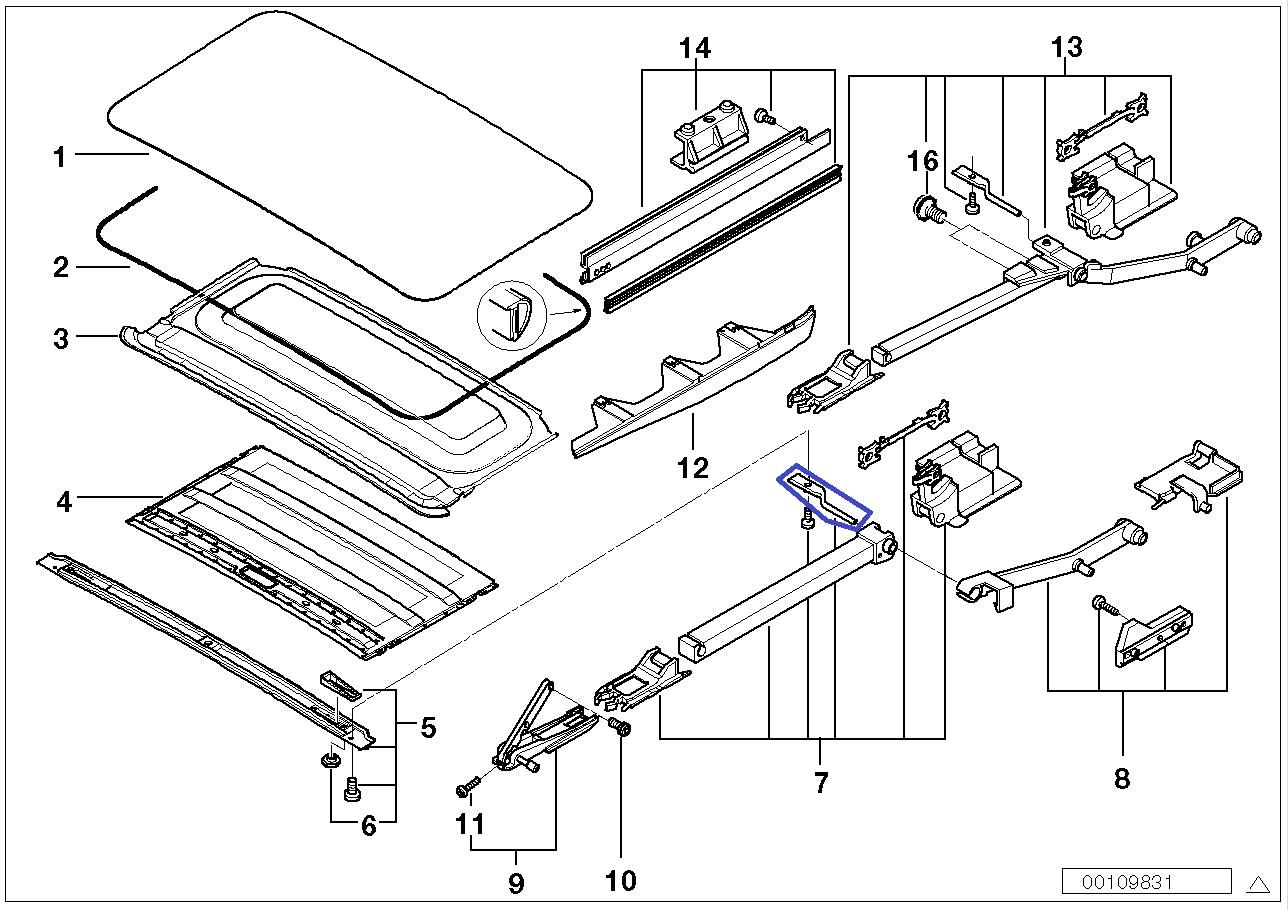 BMW E39 Left Sunroof Slider Guide Rail Bracket 8202277