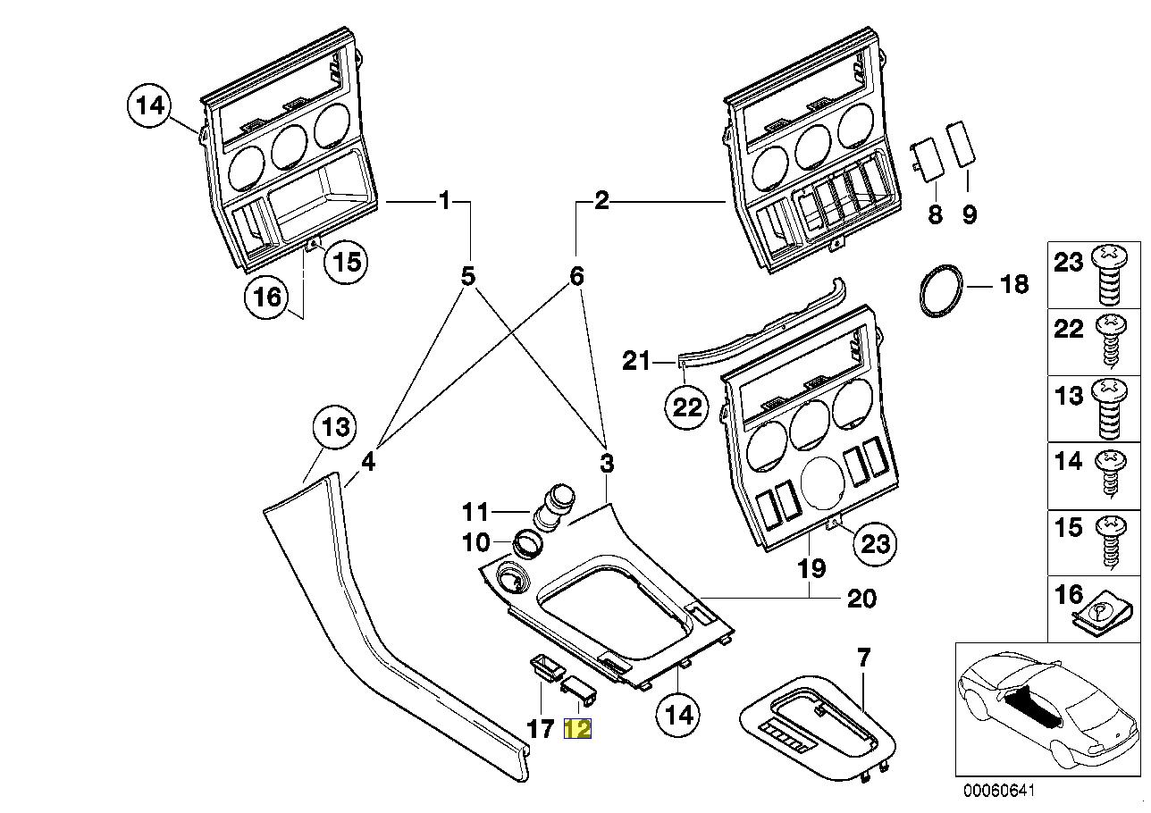 BMW Z3 E36 Centre Console Switch Blank Trim Cap 8398101
