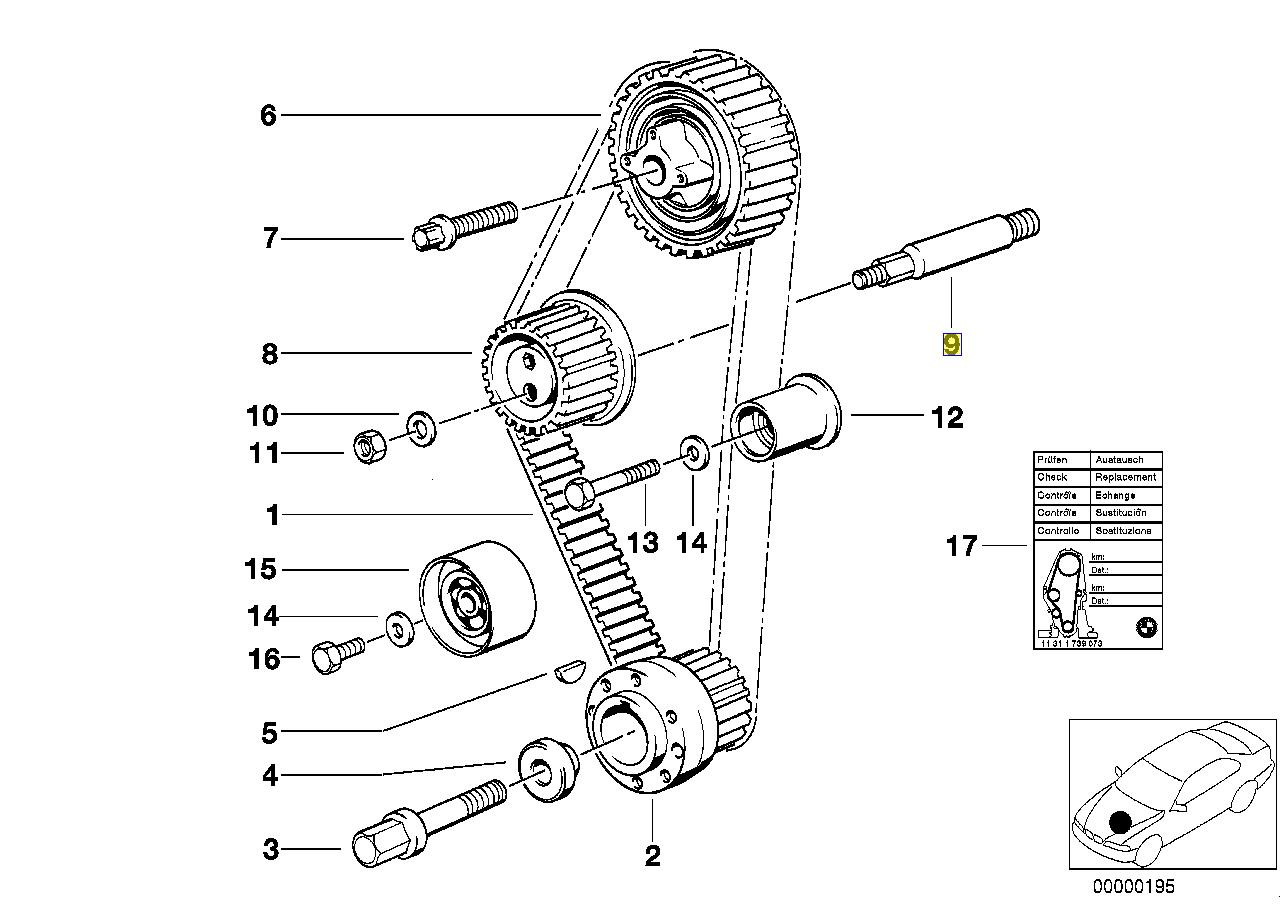 BMW M40 Engine Timing Belt Tensioner Bolt Stud 1734677