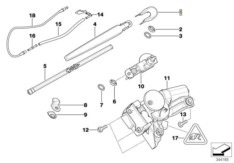 BMW E91 BOSCH Rear Wiper Arm Nut Cover Cap Trim 7142604