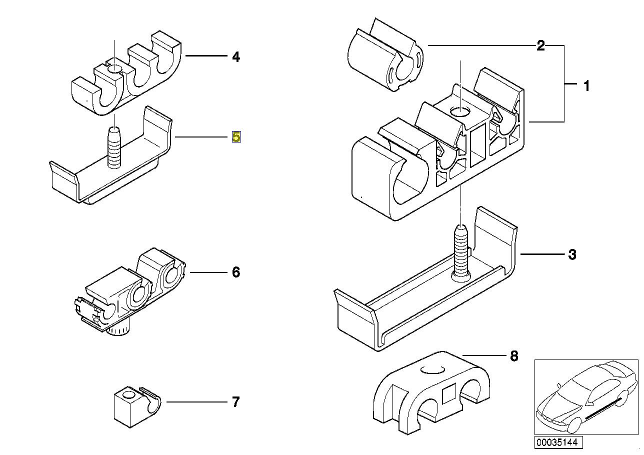 BMW Fuel Pipe Line Bracket Holder Clip Clamp 1155064
