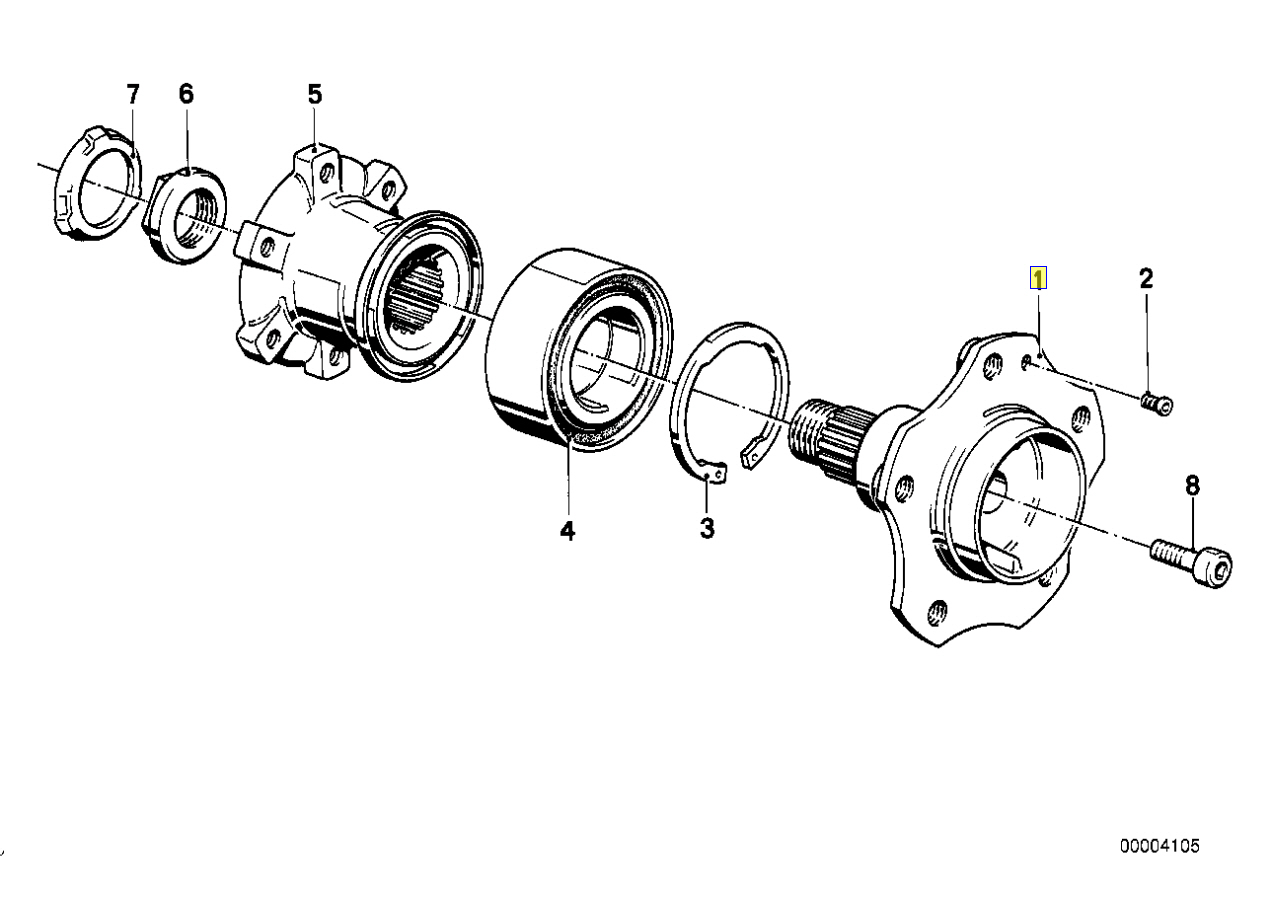bmw e28 e34 e24 rear wheel hub drive flange