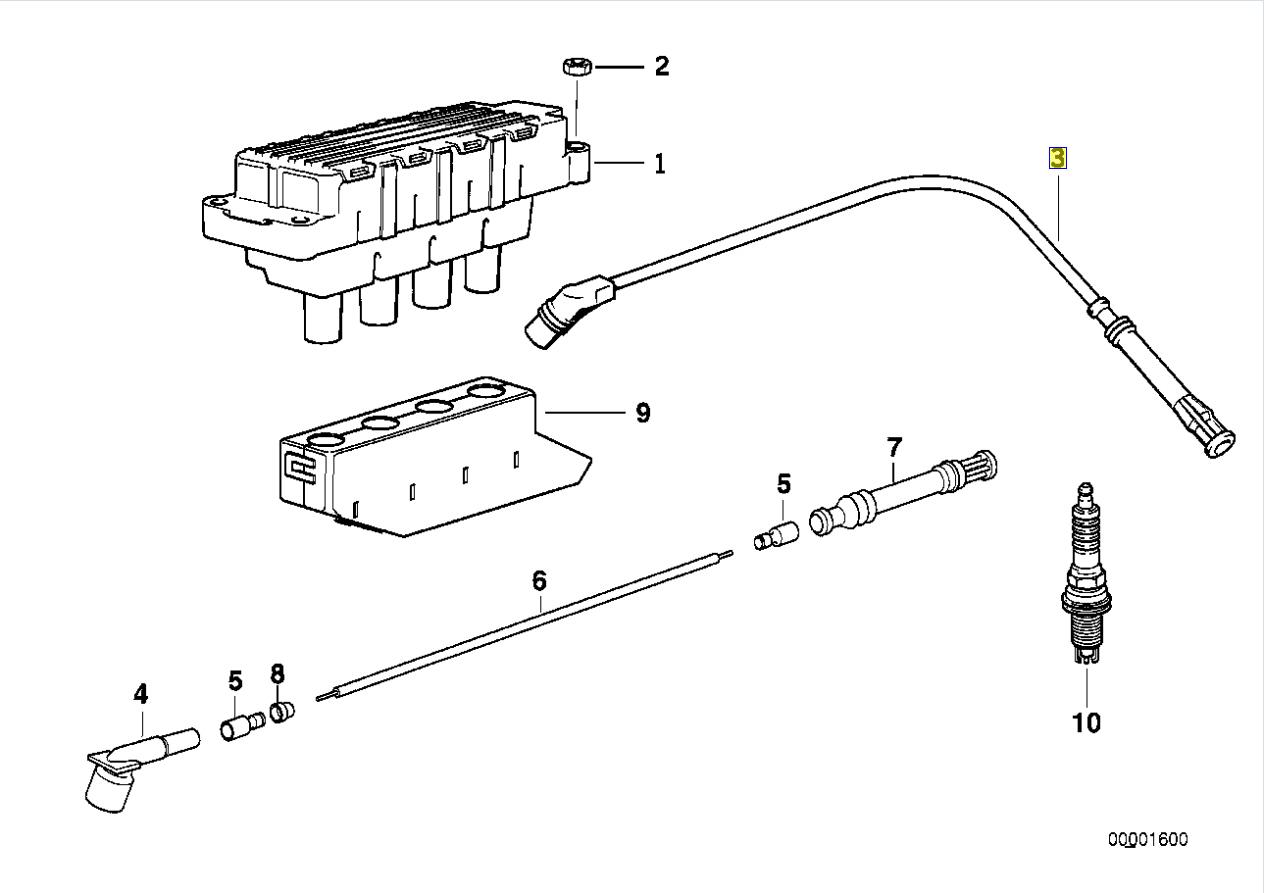 Bmw M43 Engine Ignition Spark Plug Ht Lead Wire
