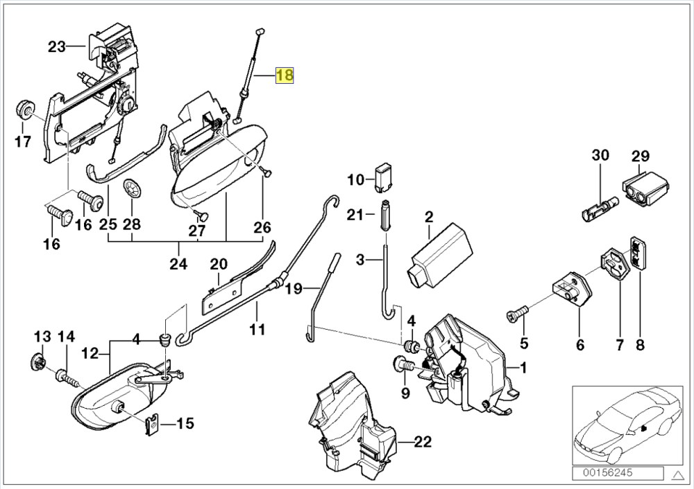 medium resolution of bmw e39 front outer door handle lock cable wire 8184584 bmw e46 door diagram bmw e90