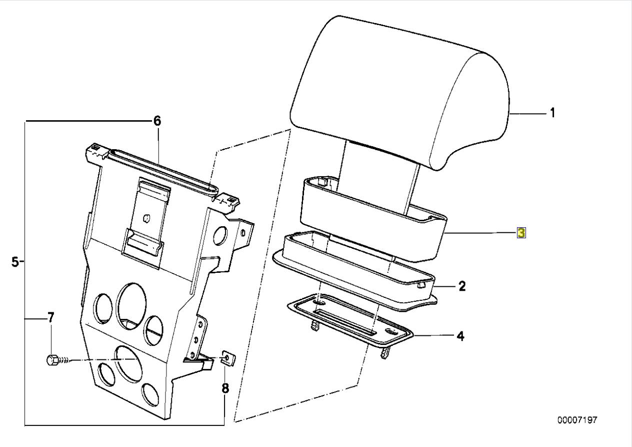 Bmw E32 E34 Hinten Kopfstutze Bezug Rand Anleitung Grau