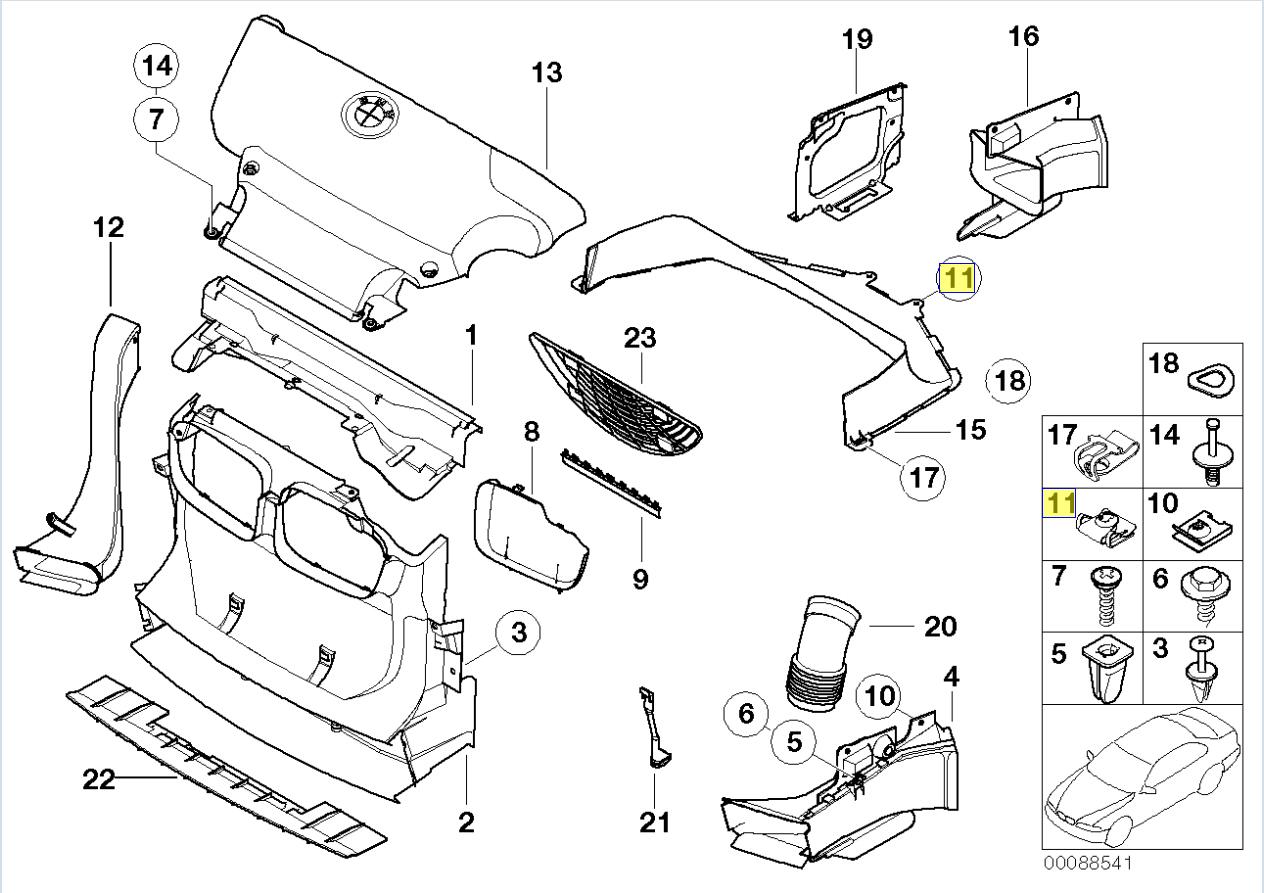 BMW Chasis Cuerpo Escudo Protector Clip Sujetador Tuerca