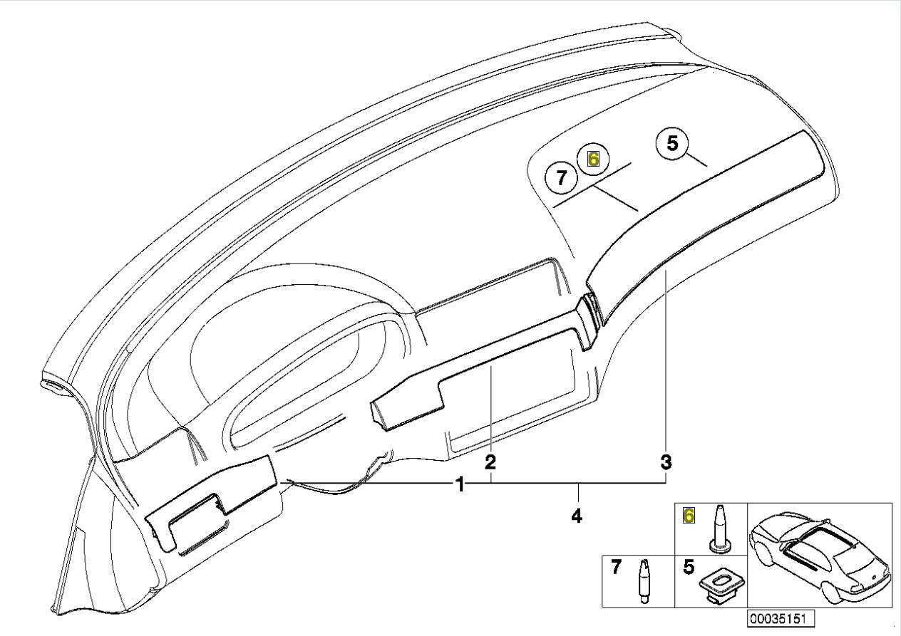 BMW E46 E90 E91 E92 E93 E60 E61 Armaturenbrett Pin 8266808