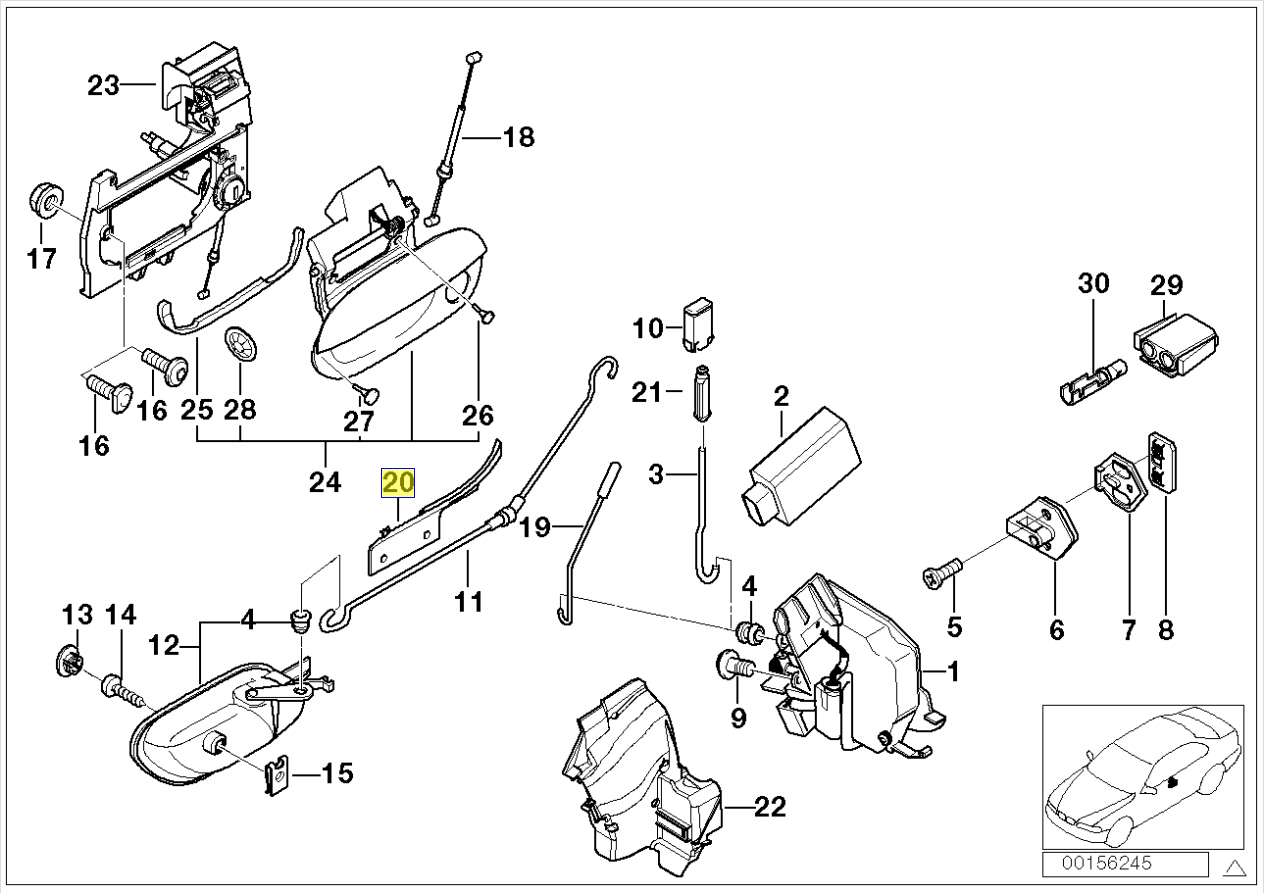 Bmw E38 E39 Right Door Lock Cable Guide Bracket