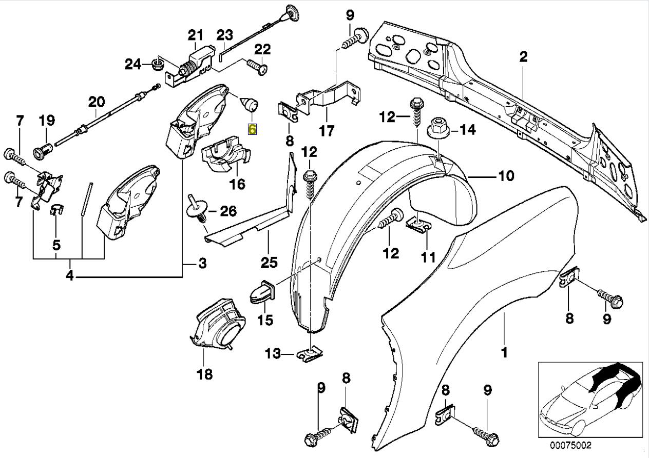 BMW E36 Z3 Fuel Filler Flap Door Stop Buffer 8153364